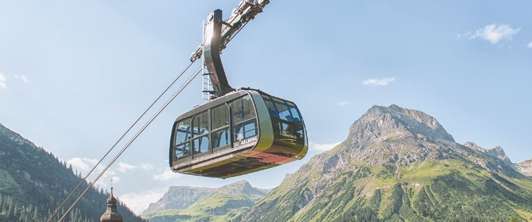 Summer mountain cable cars
